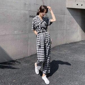 Женские летние свободные брюки-комбинезоны с коротким рукавом, повседневные клетчатые брюки с поясом