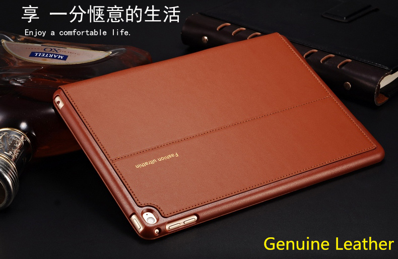 Good real genuine leather case for apple ipad mini 4 cover case slim flip stand style magnetic wake sleep protective case skin