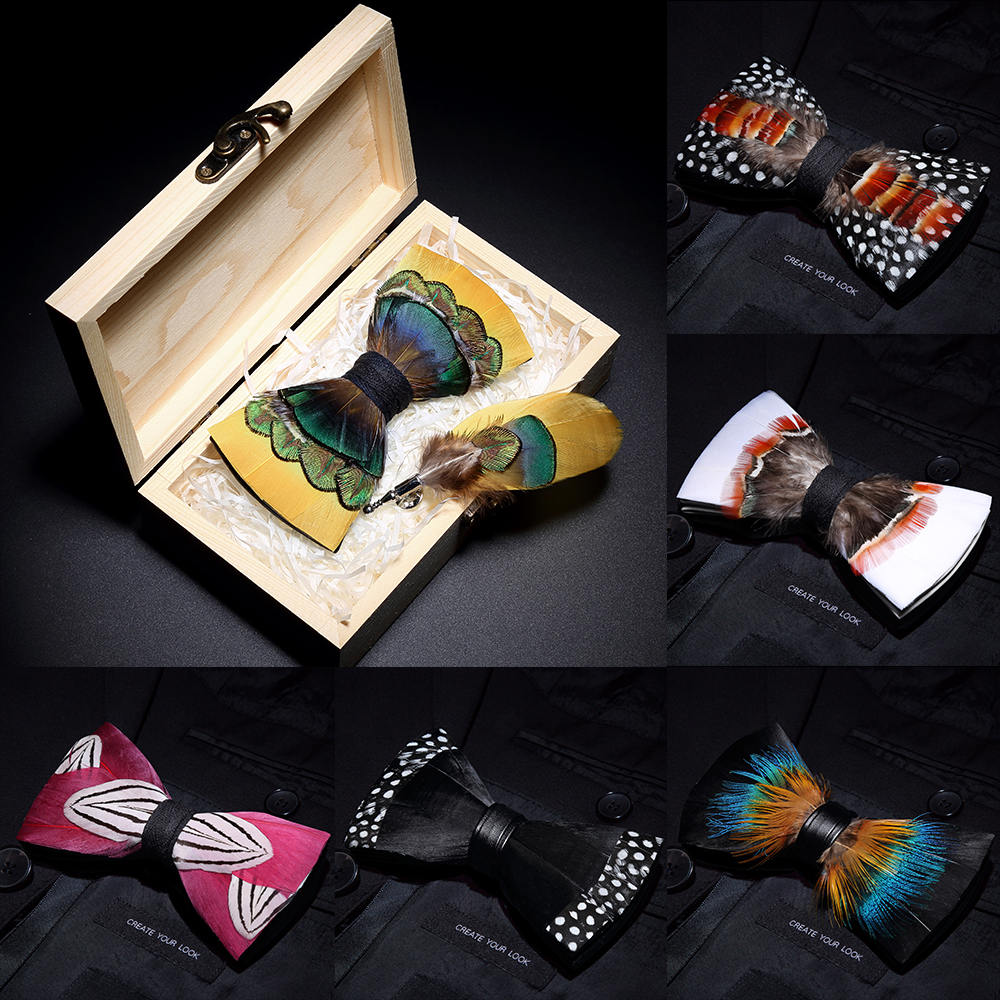 JEMYGINS 2019 Original Design Bow Tie Feather Bow Exquisite Handmade Men's Bow Tie Brooch Pin Wooden Gift Set Wedding Party
