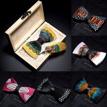 JEMYGINS 2019 original design bow tie feather bow exquisite handmade mens bow tie brooch pin wooden gift set wedding party