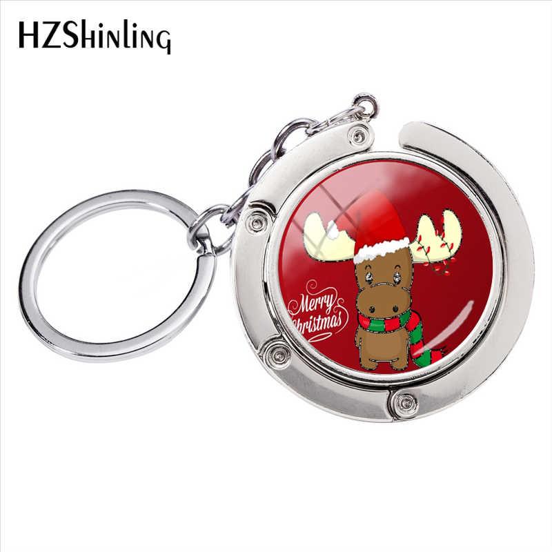 Счастливого Рождества прекрасный олень Олень стекло кабошон сумка держатель аксессуары серебряная цепочка для ключей кулон ювелирные изделия ручной работы брелок