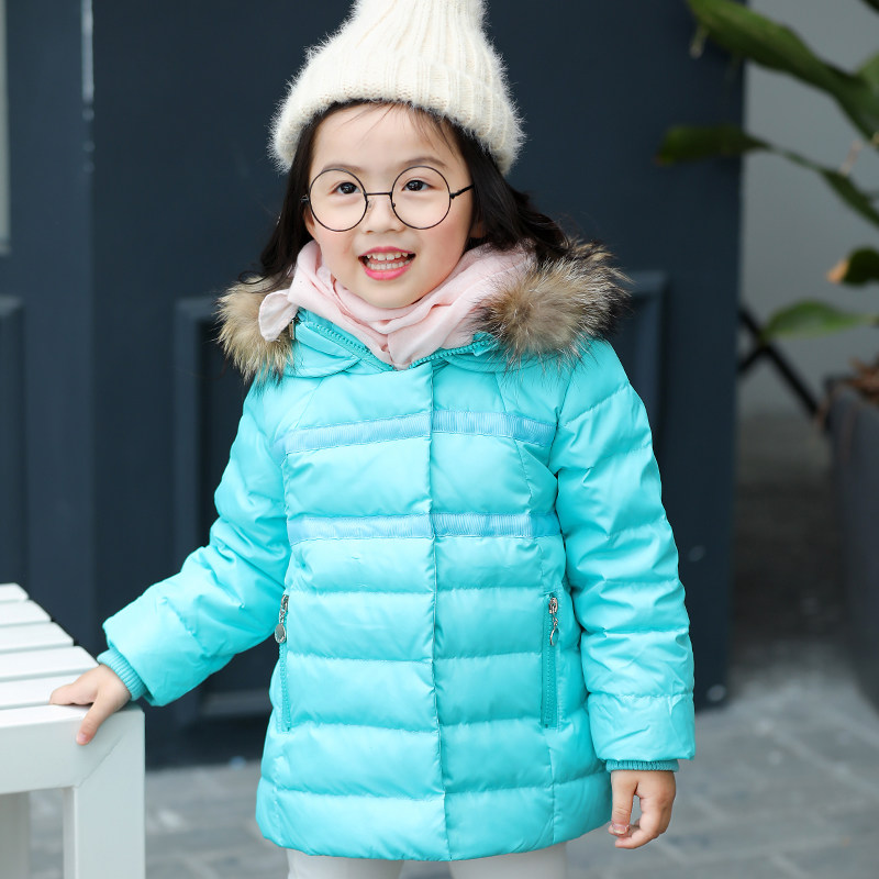 Kids Girls Winter Outerwear 80% White Duck Down Jacket with Raccoon Fur Collar Warm Fur Collar Hooded Blue Pink Red Green odlo warm print kids 10609 70344 deep blue green