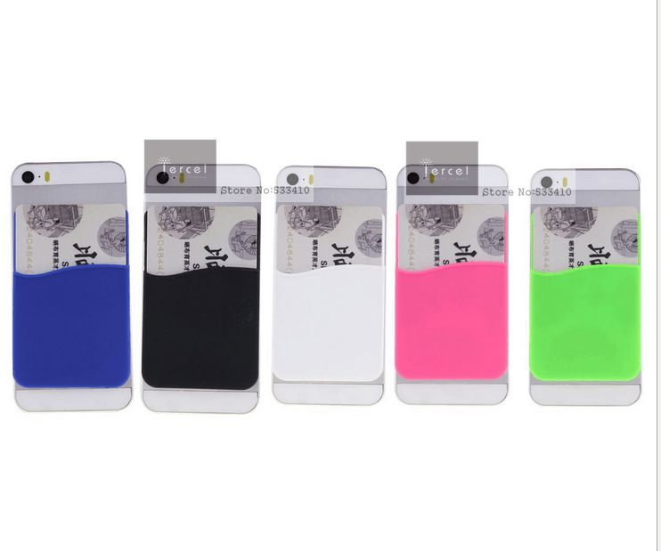 350pcs lot silicone smart phone wallet card holder with 3m sticker custom your logo with free shipping by fedex express in wallet cases from cellphones