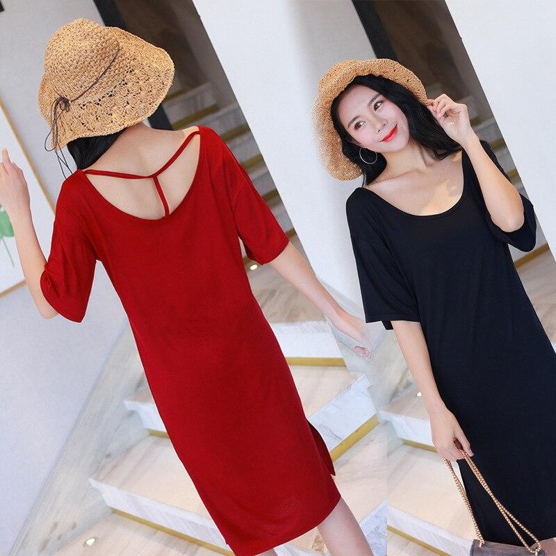2018 summer soft modal casual dress women loose hollow short-sleeved nightdress T-shirt sexy dress female   sleepshirts   sleepdress