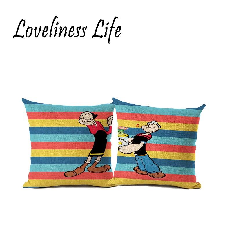 New Cartoon Valentine Day Gift Cushion Cover Cotton Linen Custom Decorative Cushion Throw Pillow Case Cover Car Seat Cojine
