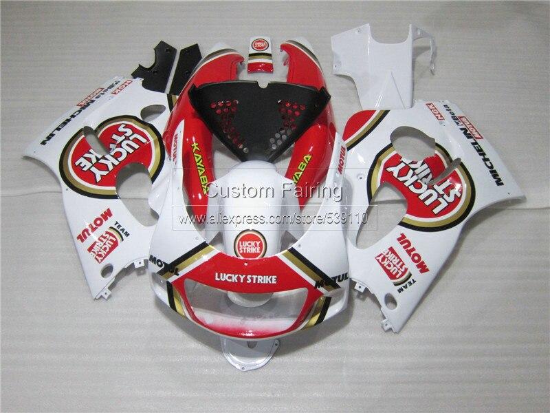 Carénage kit pour SUZUKI GSXR 600 750 1996 1997 1998 1999 2000 GSX-R600/750 96 97-00 rouge LUCKY STRIKE en plastique carénages ensemble ZE34