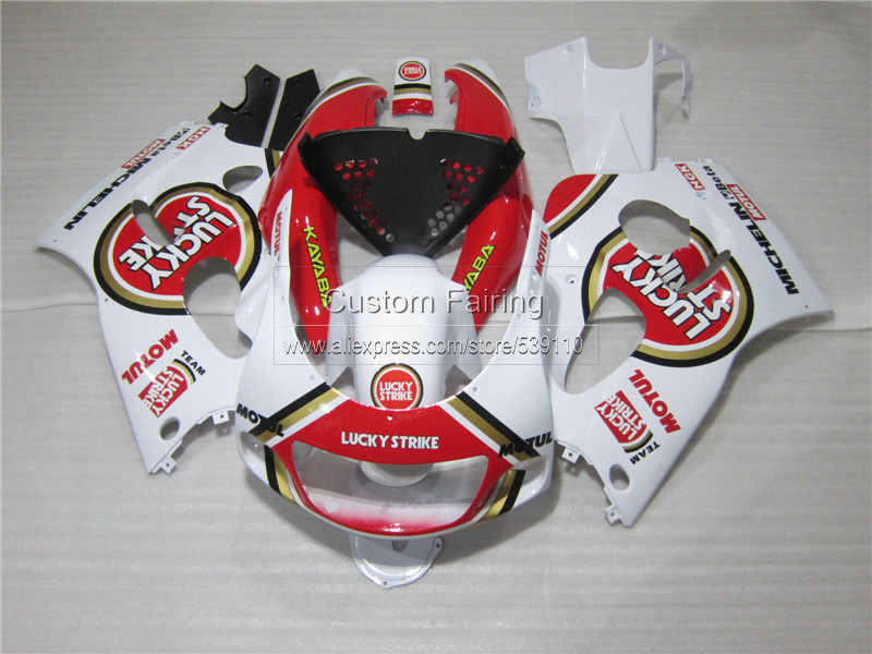 Kit carena per SUZUKI GSXR 600 750 1996 1997 1998 1999 2000 GSX-R600/750 96 97-00 red LUCKY STRIKE carenature in plastica set ZE34