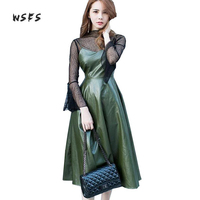 Wsfs Summer Dress Women Green Sleeveless Sprghetti Strap Vneck Sexy Party Vintage Bandage Long Pu Leather Dresses Vestidos Mujer