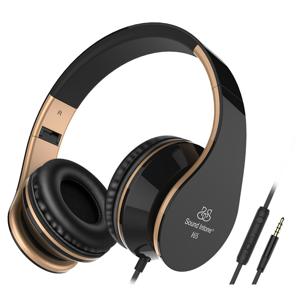 Sound Intone I65 Headphones with Microphone and Volume Control Foldable Headset for iPhone 6/6s iPad/iPod, Android Device