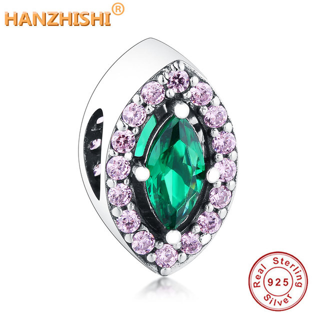 4128a9e3e47 Fit Original Pandora Charm Bracelet 925 Sterling Silver Marquise Shape Bead  Green Zircon Eye DIY Jewelry Factory Outlet Berloque