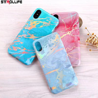 STROLLIFE Luxury Glossy Marble Phone Case For iphone X case Colorful Art Gold Lines Granite Soft Silicon Cover For iphone X Capa