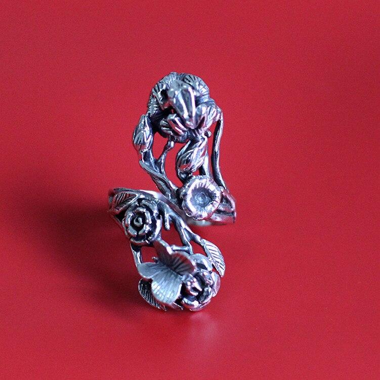 Le caractère de l'argent S925 bijoux en argent thaïlande fait à la main Vintage dames anneau printemps est être