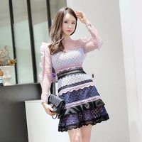 Brand In The Autumn Of 2017 Small Fragrant Long Sleeved Lace Dress Dress Tutu A Female