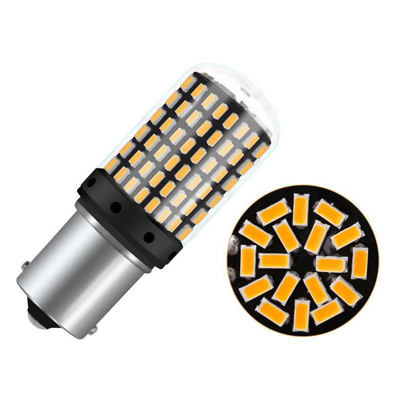 2pcs 1156 144SMD BAU15S PY21W Car Turn Signal Led Light Bulb Yellow 18W 3400LM Bau15s