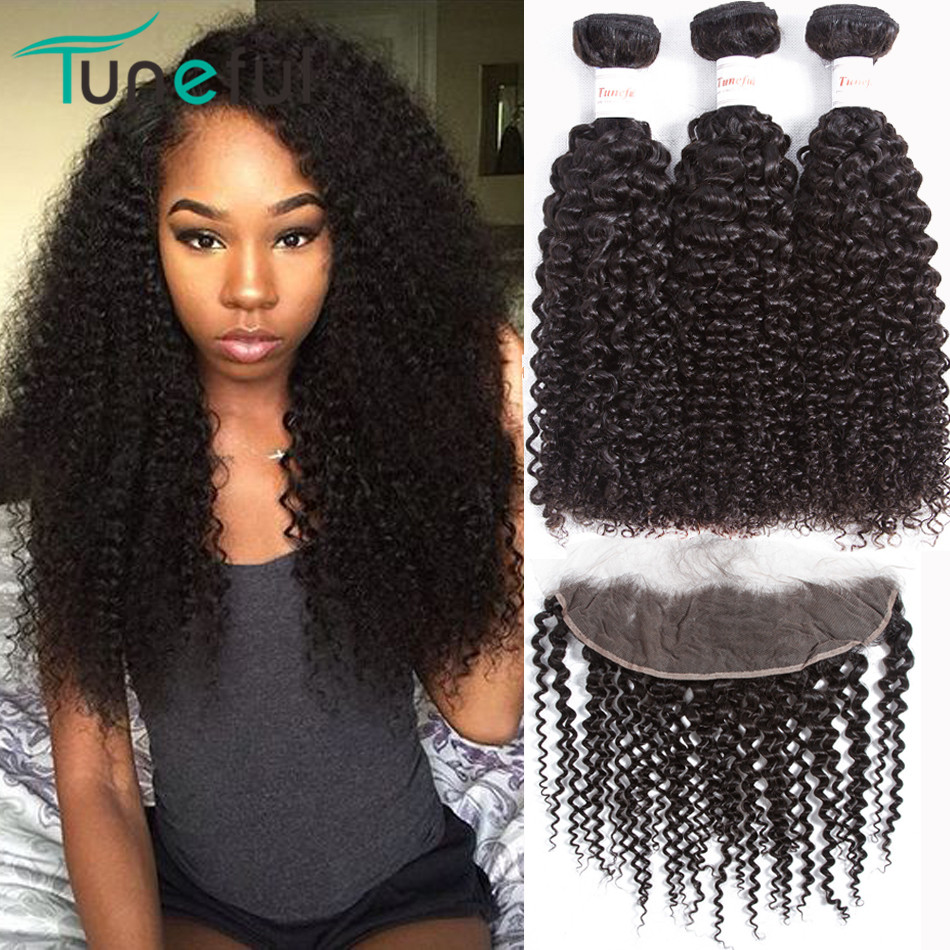 Curly Hair Bundles With Frontal Closure Tuneful 100% Malaysian Remy - Human Hair (For Black)