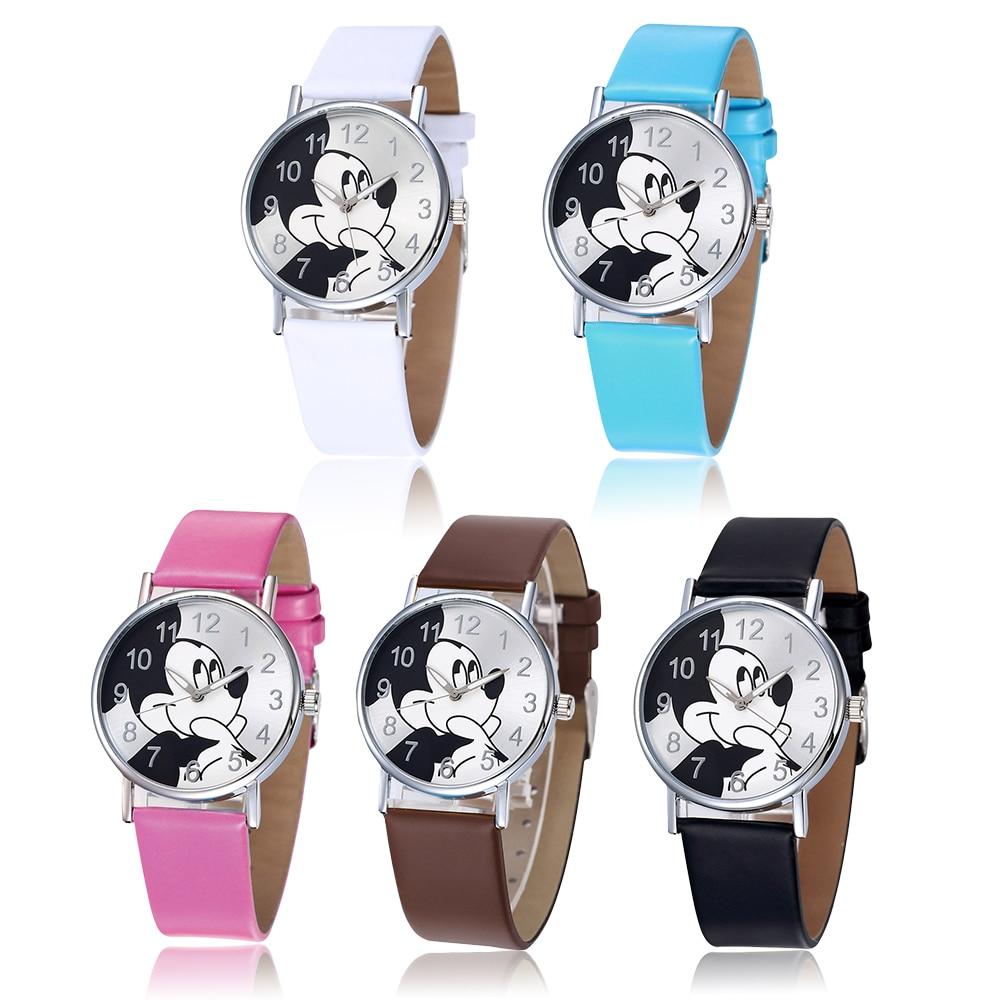 1PCS Women's Mickey Mouse Watches Women Fashion Casual Leather Quartz Clock Stylish Cartoon Ladies Wrist Watch Relogio Feminino