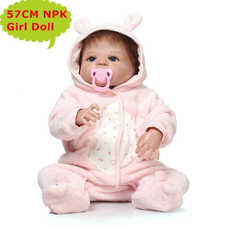 Vivid Reborn Doll NPK 55CM Full Silicone Bebe Girl Toy In Soft Plush Clothes Newborn Baby Bath Toys Children Gifts Brinquedos