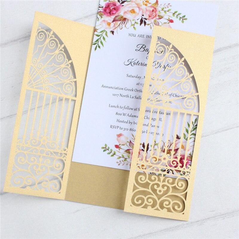 Door Laser Cut Wedding Invitations Gold Green Navy Blue Multi