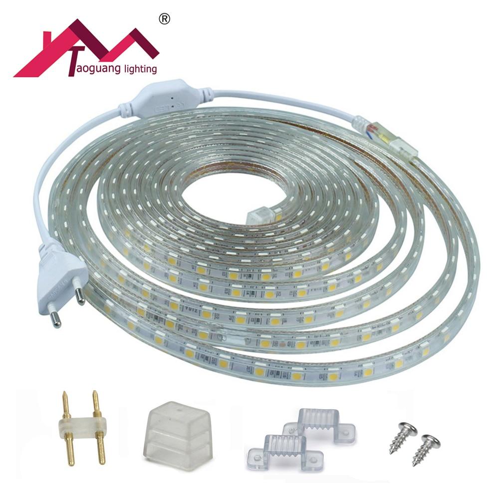 Taoguang Lighting LED Strip Light AC 220V 5050 SMD LED Flexible Tape 60 LEDs / m 1M 2M 3M 4M 5M 6M Power Plug+Silicon Clip+Fixer