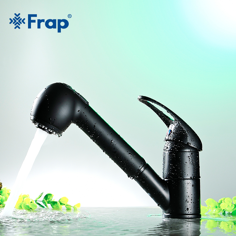 Frap 1 set New Hot and Cold Water Classic Kitchen Faucet Brass Pull Out Kitchen Sink