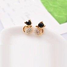 cats stud earrings Black Crystal Earrings Cute gold earrings pendiente aros boucles d'oreille women brincos oorbellen Ohrringe15