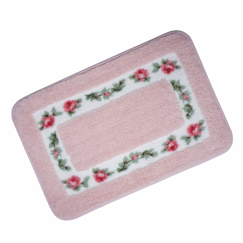 Bathroom rugs with rubber backing - Pink Carpet Doormat European Style Garden Machine Wash Bathroom Rugs 40x60cm 15 7 Wx23 6 L