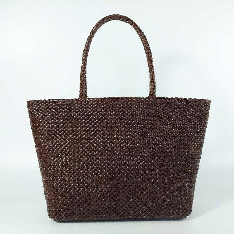 купить Genuine Nature Cow Leather Handbags Ladies Casual Solid Weave Shoulder tote Women Hand Knitting Fashion bags bolsa feminina недорого