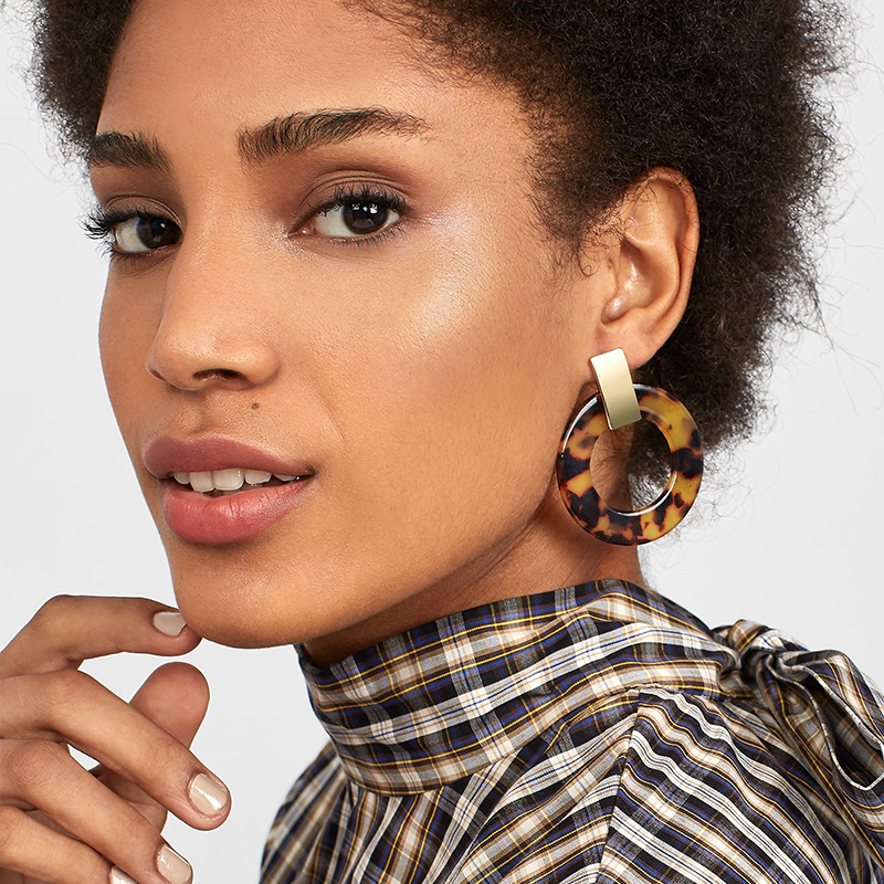 New Fashion Large Round Leopard Print Acrylic Drop Dangle Earrings Women Transparent Exaggerated Statement Party ZA Jewelry