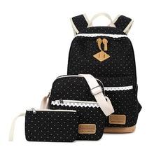 3 шт./компл. для женщин и девочек Сумки рюкзак модная школьная сумка Композитный сумка 2017, женская обувь рюкзак Кружева с принтом в горошек