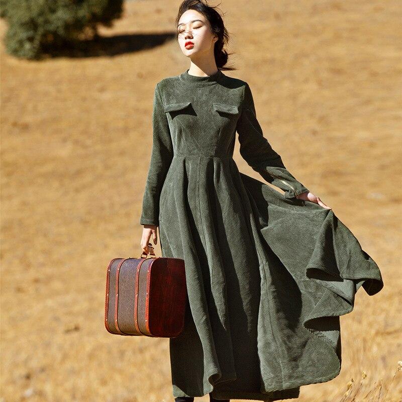 Johnature Women Elegant Dress Corduroy Chinese Style Cheongsam 2019 Fall New Fit And Flare High Waist