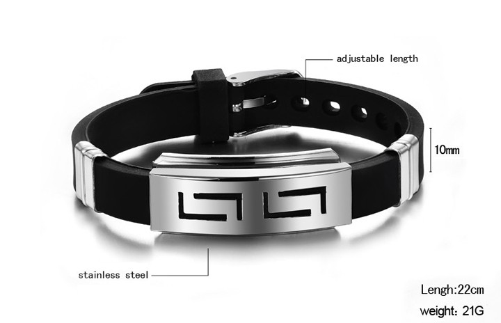 OPK-2016-New-Fashion-Jewelry-Silicone-Rubber-Silver-Slippy-Hollow-Strip-Grain-Stainless-Steel-Men-Bracelet (3)