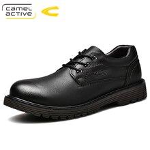 Camel Active Oxfords en cuir véritable pour homme, souliers pour homme, bout rond, Vintage chaussures plates pour homme, décontracté