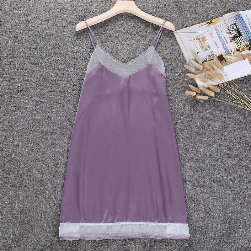 Ladies Sexy Silk Satin Nightdress Summer   Nightgown   Sleeveless Nighties V-neck   Sleepshirt   Night Shirt Size M L XL For Women