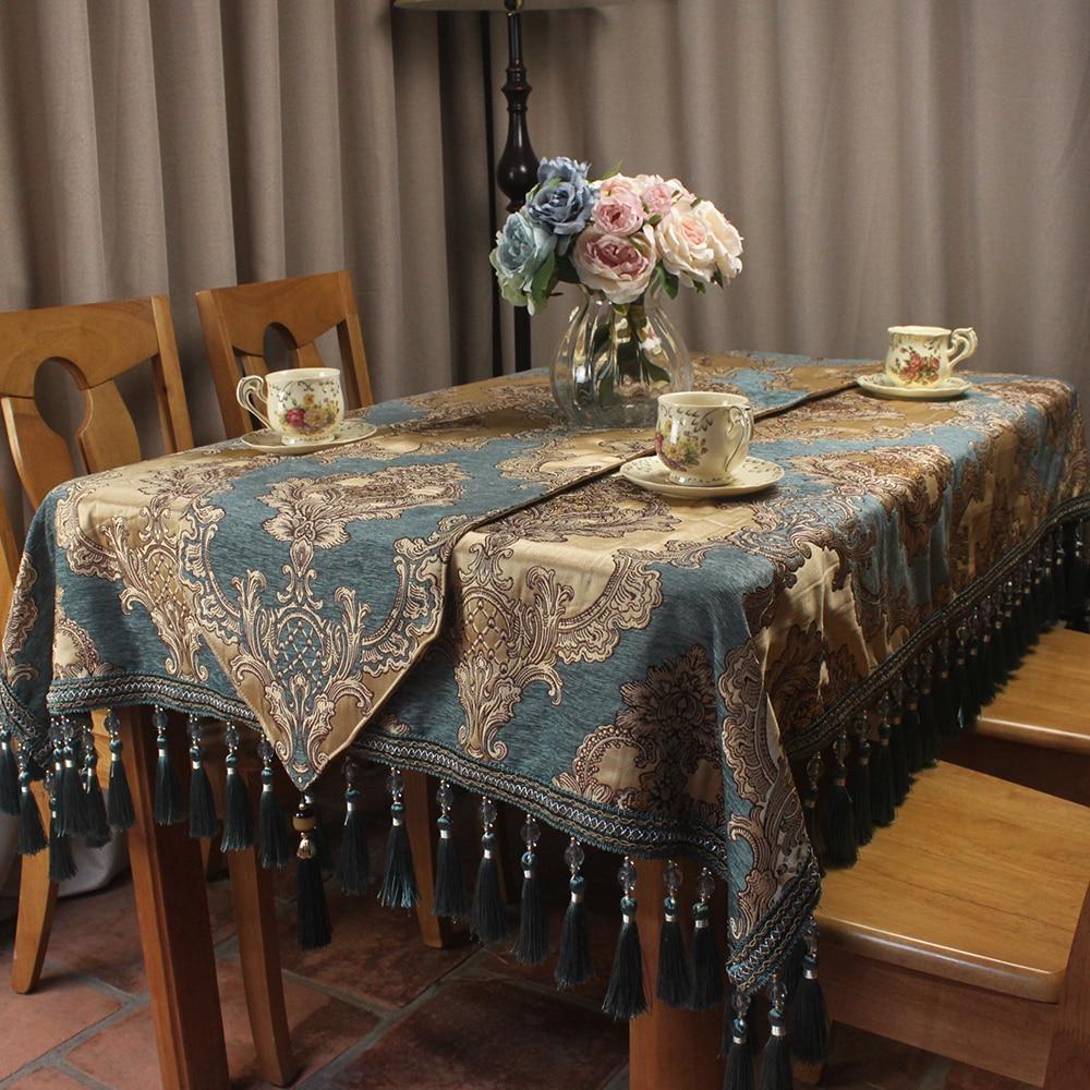 CURCYA European Blue Chenille Jacquard Luxury Table Cloth