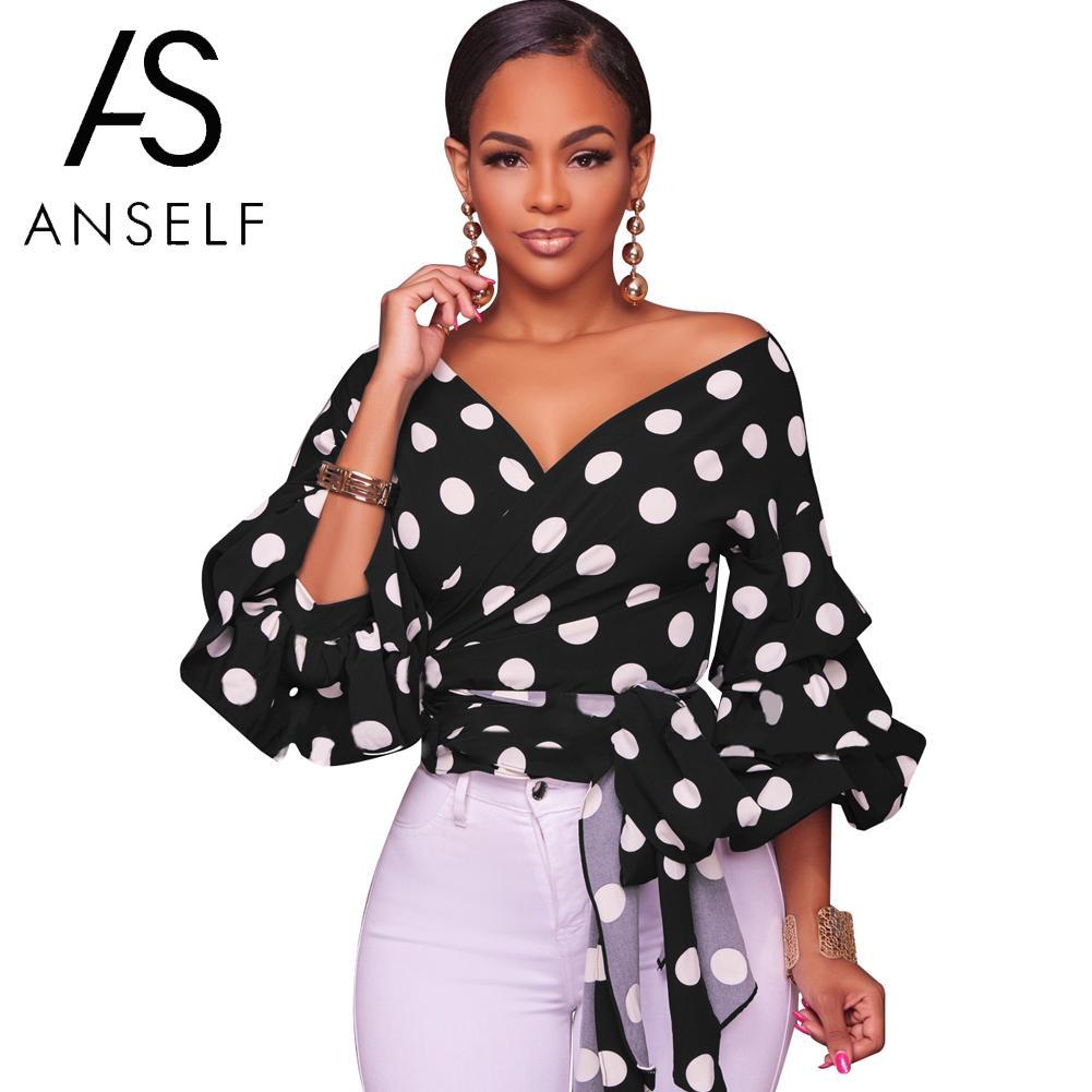 293fd22369f6a6 Korean Fashion V Neck Polka Dot Blouses Women Off Shoulder Tops Vintage Shirts  Blouse Summer tops 2019 female tunics Black/White