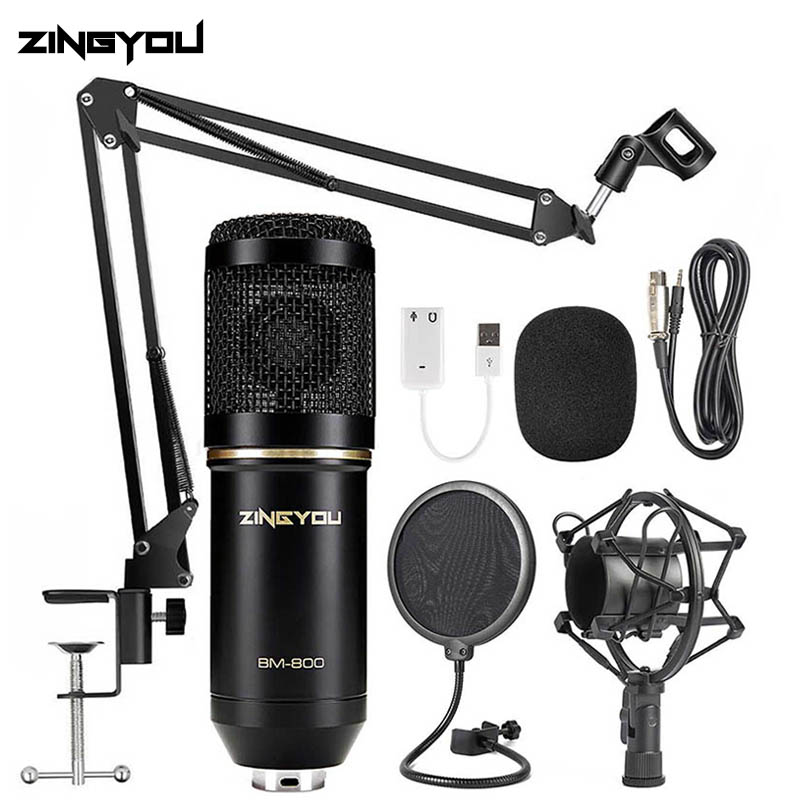 ZINGYOU BM 800 Studio Microphone Multifunctional Wired Cardioid Mic For Sound Recording Professional Condenser bm800 Microphone