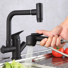 Kitchen sink all copper faucet pull type kitchen dish cold hot water faucet copper hot and cold pull out type kitchen faucet rotating retractable belt shower vegetables basin sink brushed