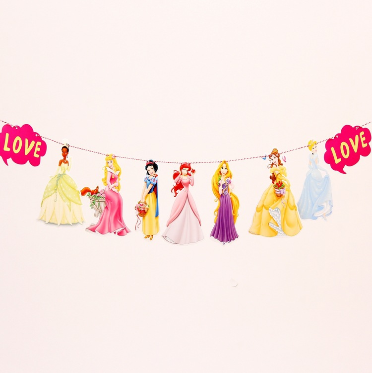 1 Set Cartoon White Snow Princess Paper Flags Birthday party Decoration Pull Flowers Kids Birthday Baby Shower Party Decoration