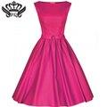 2016 Women Dress Summer Rockabilly Audrey Hepburn 50S Cotton Vintage Swing Pinup Robe Femme Party Dresses Summer Dresses Causal