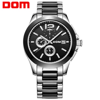 Dom Watch Fully Automatic Mechanical Watch Stainless Steel Mens Watch Ceramic Watch Commercial Cutout Waterproof Male