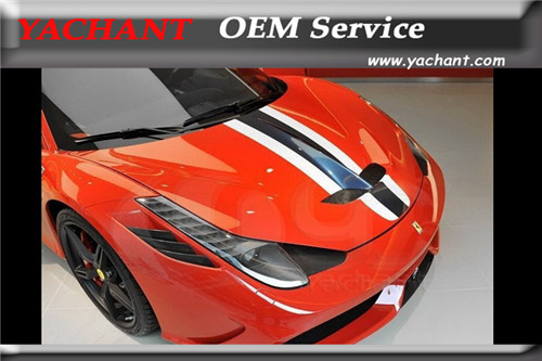 Car-Styling Real Carbon Fiber Glass Front Hood Fit For 2010-2014 F458 Italia Spider Speciale-Style Hood Bonnet