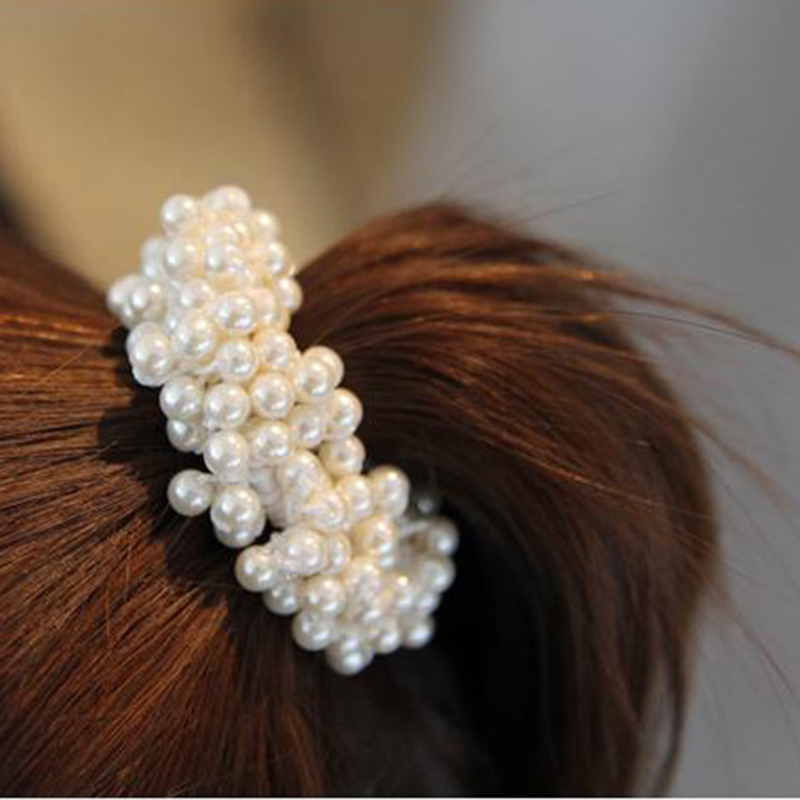 Fashion Rope Scrunchie Ponytail Holder White Black Champange Faux Pearl Beads Elastic Hair Bands Hair Accessories for Women 1