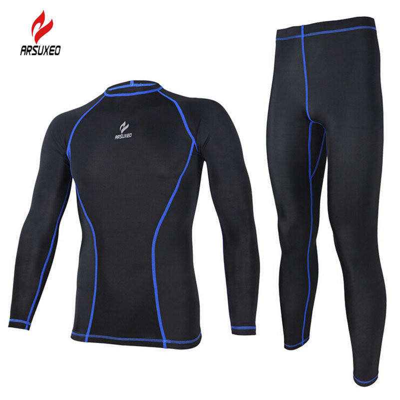 ARSUXEO Tight Running Clothes Cycling Long Sleeve Jersey Set Wicking Ciclismo Ropa MTB Clothing Fitness Long Jersey Sets For Men цена и фото