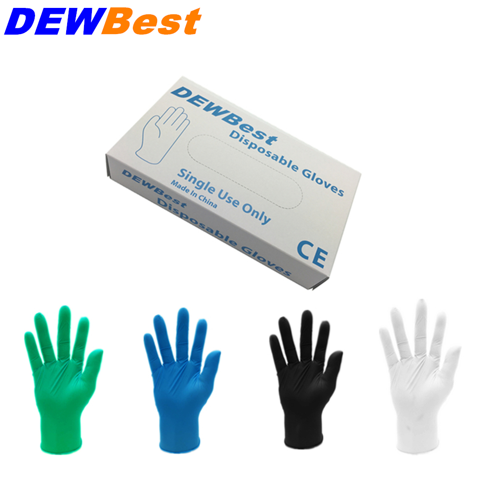 DEWBest Free Shipping High Quality Black Nitrile Gloves Disposable Nitrile Oil And Acis Wholesale Industrializationd Latex Glove(China)