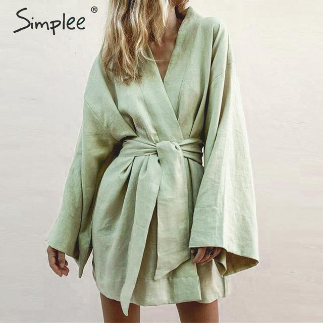 Simplee Japanese style v-neck women cotton dress Solid white sashes female dress Summer casual green beach wear lady dress 2019