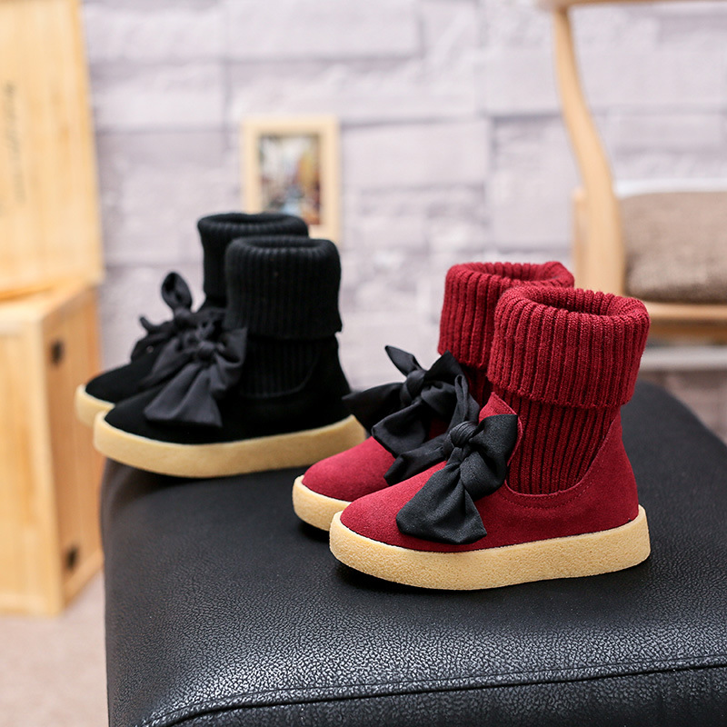 ФОТО 2017 Kids Knitted Slip On Shoes Baby Girl Thicken Warm High Boots Children Fashion Boots For Toddler Girls Butterfly Knot Boots