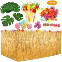 149 Pcs Tropical Party Decor Set With Hawaiian Table Skirt Palm Leaves Flowers For Luau Decoration