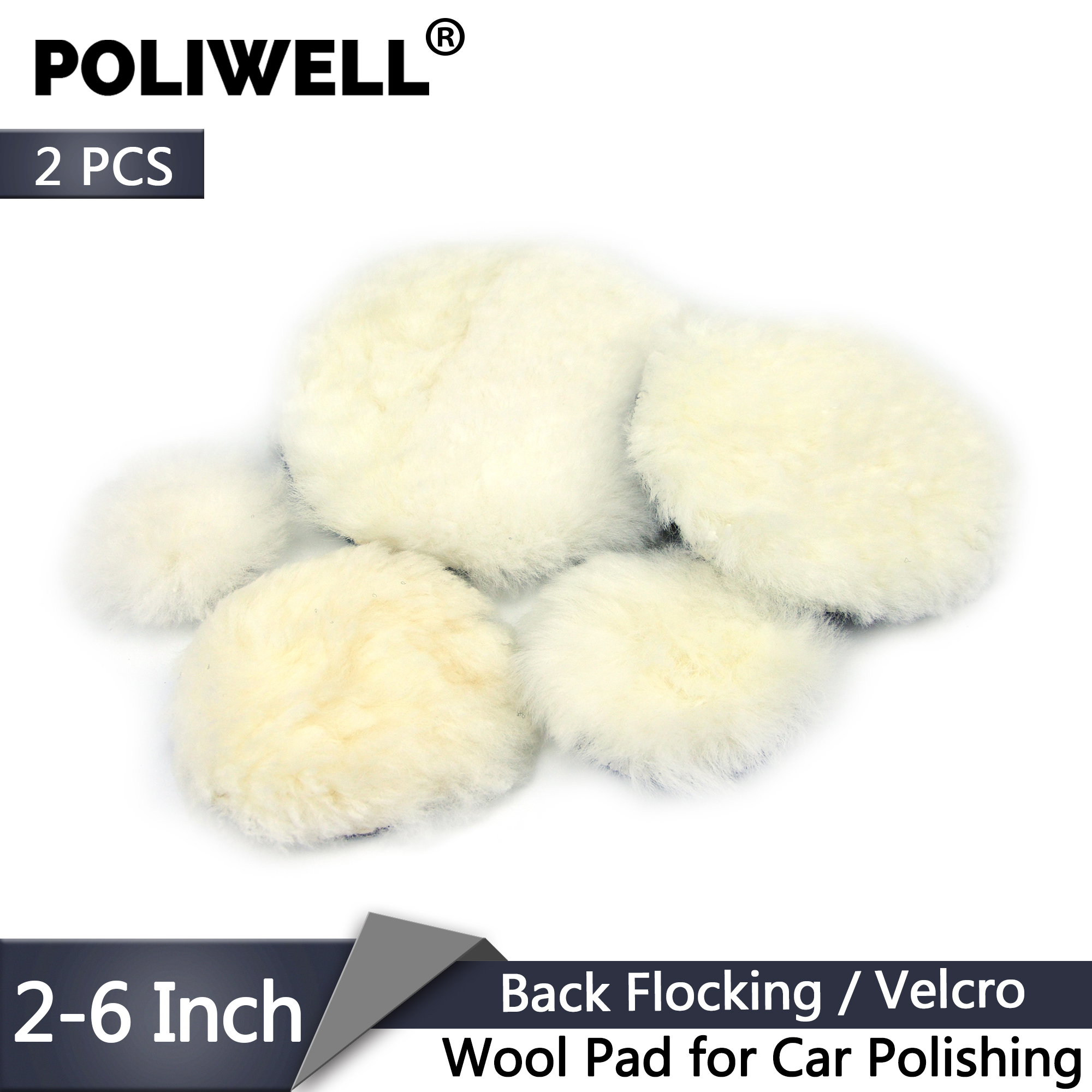 POLIWELL 2Pcs 2/3/4/5/6 Inch Wool Pads Flocking Back Waxing Polishing Buffing Pad Wheel Car Auto Paint Care Polisher Discs