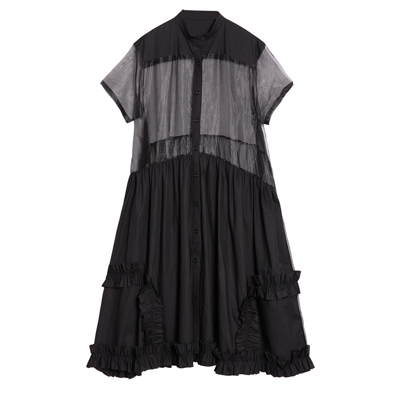 CHICEVER Patchwork Mesh Sleeve Summer Dress For Women Hem Ruffles Black Loose Casual Perspective Dresses Big Size Clothes New