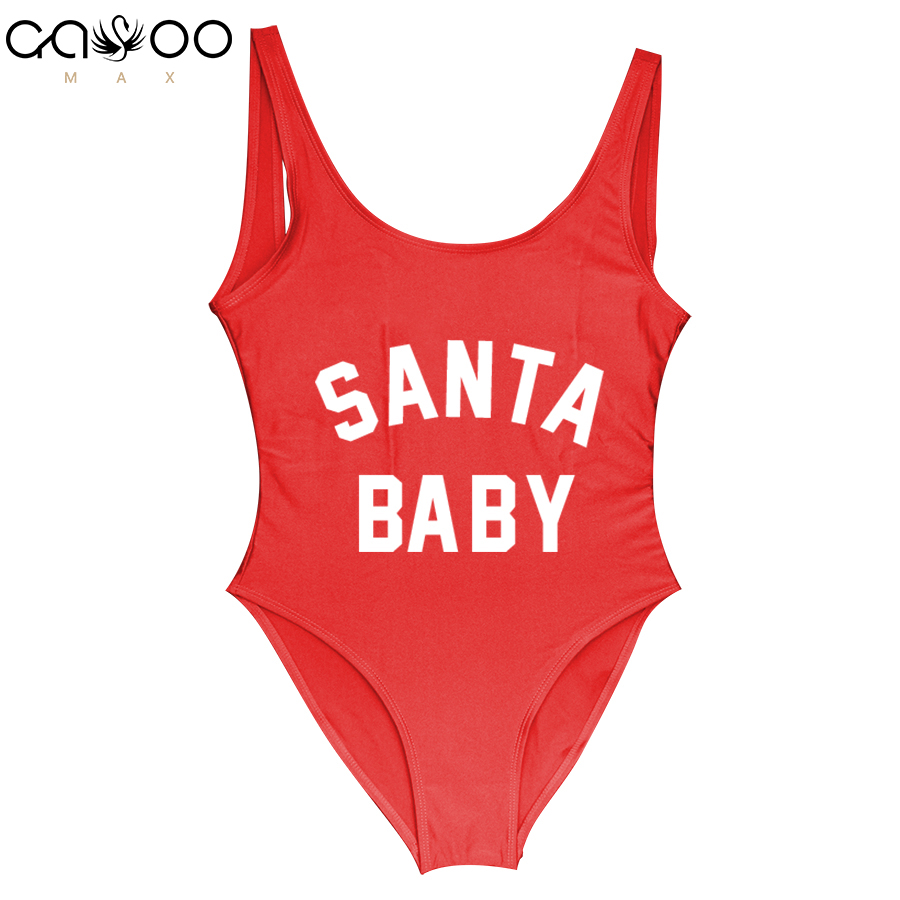 Christmas One Piece Swimsuit.Santa Baby2018 Swimwear Women One Piece Swimsuit Enjoy Girls